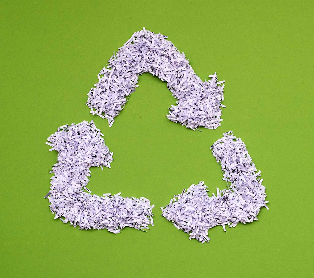 shredding recycle symbol